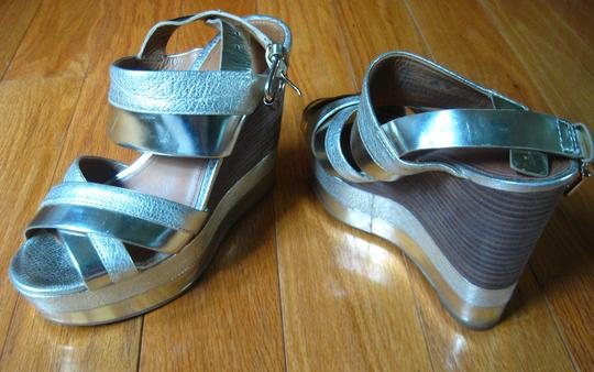 Coach Sandal Leather Gold, Silver Wedges Image 3