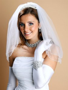Mariell Scattered Pearl & Sequin 2-layer Sheer Bridal Or Flower Girl Veil 1548v-i