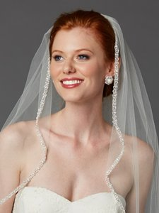 Mariell Rhinestone Edge Fingertip Wedding Veil With Pearls Beads & Crystals - Ivory 3327v-i