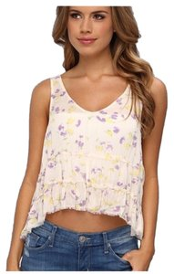 Free People Top Floral Beige