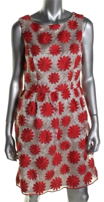Item - Red White Casual Above Knee Cocktail Dress Size 4 (S)