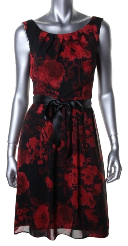 318408df159e Connected Apparel Black Red Work Knee Length Cocktail Dress Size 6 ...