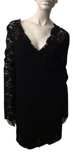 Diane von Furstenberg short dress Black Lace V-neck Dvf on Tradesy