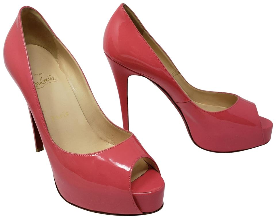 01633f1d1cfd Christian Louboutin Peep Toe Very Prive Platform Pigalle Patent Leather  Pink Pumps Image 0 ...