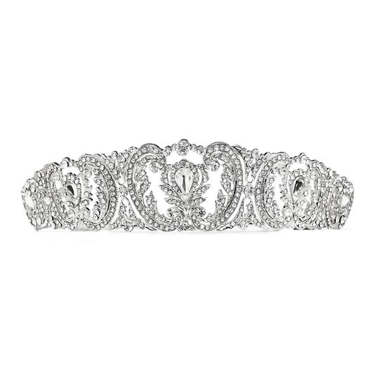 Mariell Silver Retro Chic Vintage with Pave Crystals 4186t-s Tiara