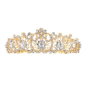 Mariell Graceful Golden Scrolls Crystal Bridal Tiara 4187t-g