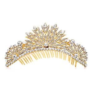 Mariell Spectacular Crystal Gold Art Deco Wedding Or Prom Tiara Comb 4188tc-g