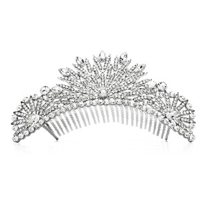 Mariell Silver Spectacular Crystal Art Deco Or Prom Comb 4188tc-s Tiara