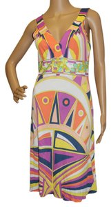 Emilio Pucci Yellow Sleeveless V-neck Dress