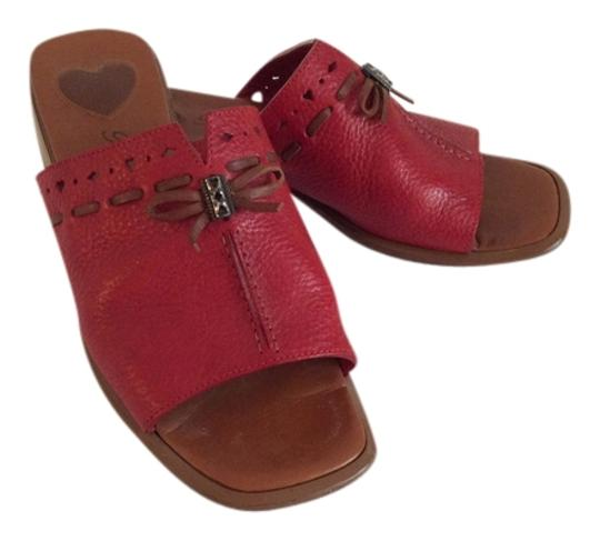 Brighton Cutout Detailing Brown Leather Trim. Red Mules