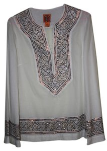Tory Burch Linen With Sequined Trim Tunic