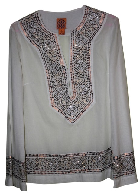 Item - White Linen Tunic with Sequined Trim
