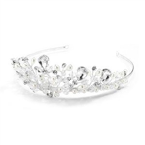 Mariell Handmade Bridal Tiara With Faceteed Crystal Beads Bold Pears And Soft Cream Pearls 4010t