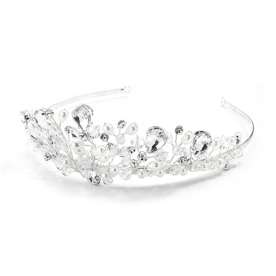 Mariell Crystal Handmade with Faceteed Beads Bold Pears and Soft Cream 4010t Tiara