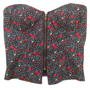 Silence + Noise Top Floral Multi Red Blue Black Green