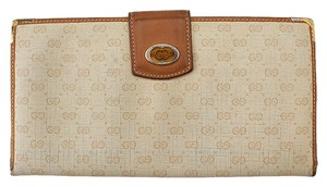 Gucci Gucci Vintage Beige GG Coated Canvas & Tan Leather (44134)