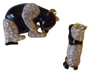 unknown Rhinestone & enamel panda pins
