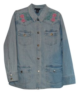 Denim & Co. Light Blue Womens Jean Jacket