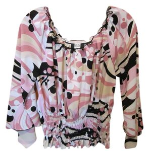 Studio 1940 Color Geometric Print Angel Sleeve Elastic Waist Top Multi