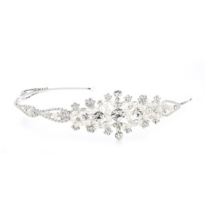 Mariell Silver Crystal Headband Or with Side Floral Design 3573hb Tiara
