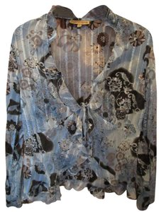Notions Cardigan Sheer Floral Blue Grey Black Ruffle Longsleeve Tie Top Multi