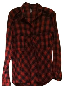 Free People Button Down Shirt Red/ Blue Plaid