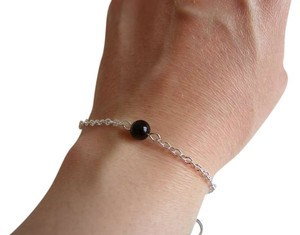 single black glass pearl chain bracelet