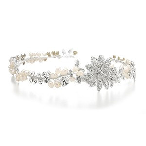 Mariell Designer Wedding Tiara Hair Vine Or Headband In Freshwater Pearls 3580h