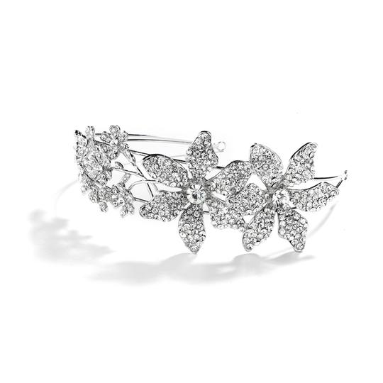 Mariell Spectacular Bridal Headband With Crystal Flowers And Split Band 4034hb