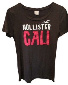Hollister Embroidered Pink Hotpink White T Shirt Brown