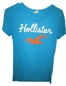 Hollister Tourqoise Orange White Short Sleeve T Shirt Blue