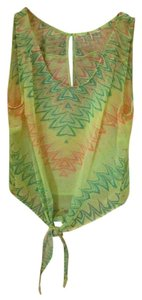 Other Geometric Print Yellow Green Pink Salmon Lime Tie Waist Top Multi