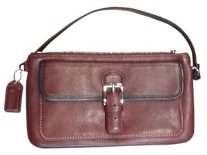 Coach Genuine Wristlet in Bordeaux w/brown leather piping