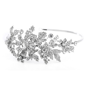 Mariell Silver Crystal Headband Or with Side Floral Design 3569hb Tiara