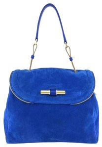 Jimmy Choo Gold Hardware Logo Leather Satchel in Blue