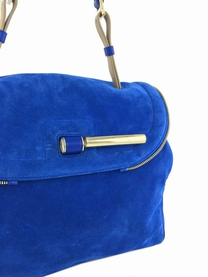 Jimmy Choo Gold Hardware Logo Leather Suede Satchel in Blue