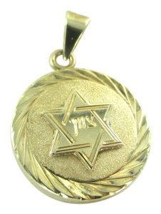 14K YELLOW GOLD PENDANT STAR OF DAVID JEWISH RELIGIOUS FAITH FINE JEWELRY CHARM