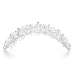 Mariell Crystal/White Pearl And Comb - H087 Tiara
