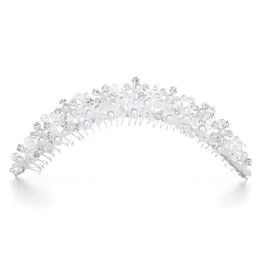 Mariell Pearl And Crystal Bridal Tiara Comb - White H087