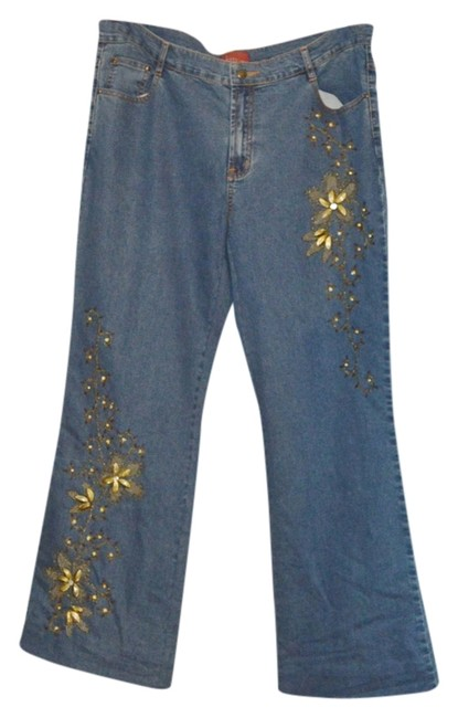 Item - Blue Denim Embellished Average 5% Spandex Trouser/Wide Leg Jeans Size 16 (XL, Plus 0x)