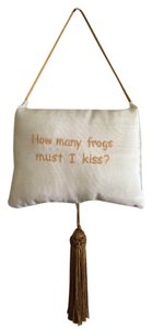 'HOW MANY FROGS MUST I KISS?' Hanging Decorative Stain Cream Pillow for Nursery