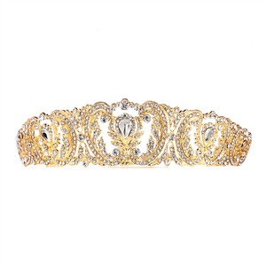 Mariell Retro Chic Vintage Gold Wedding Tiara With Pave Crystals 4186t-g