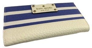 Kate Spade Kate Spade Southport Avenue Denim Blue/White Fabric Stacy Clutch Wallet