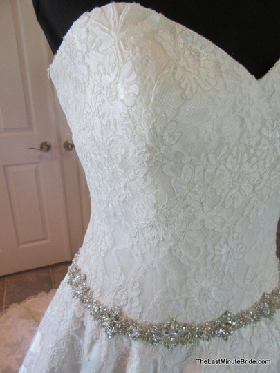 Allure Bridals Ivory / Silver Satin and Lace Applique 9165 Feminine Wedding Dress Size 10 (M) Image 1