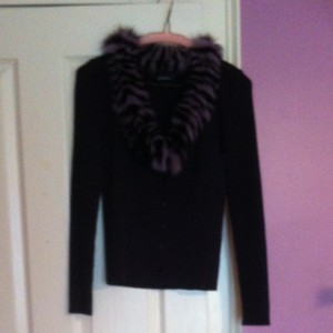 Anna Sui Button Down Shirt Purple/black Collar