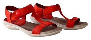 Camper T-strap Ankle Strap Leather Red Sandals