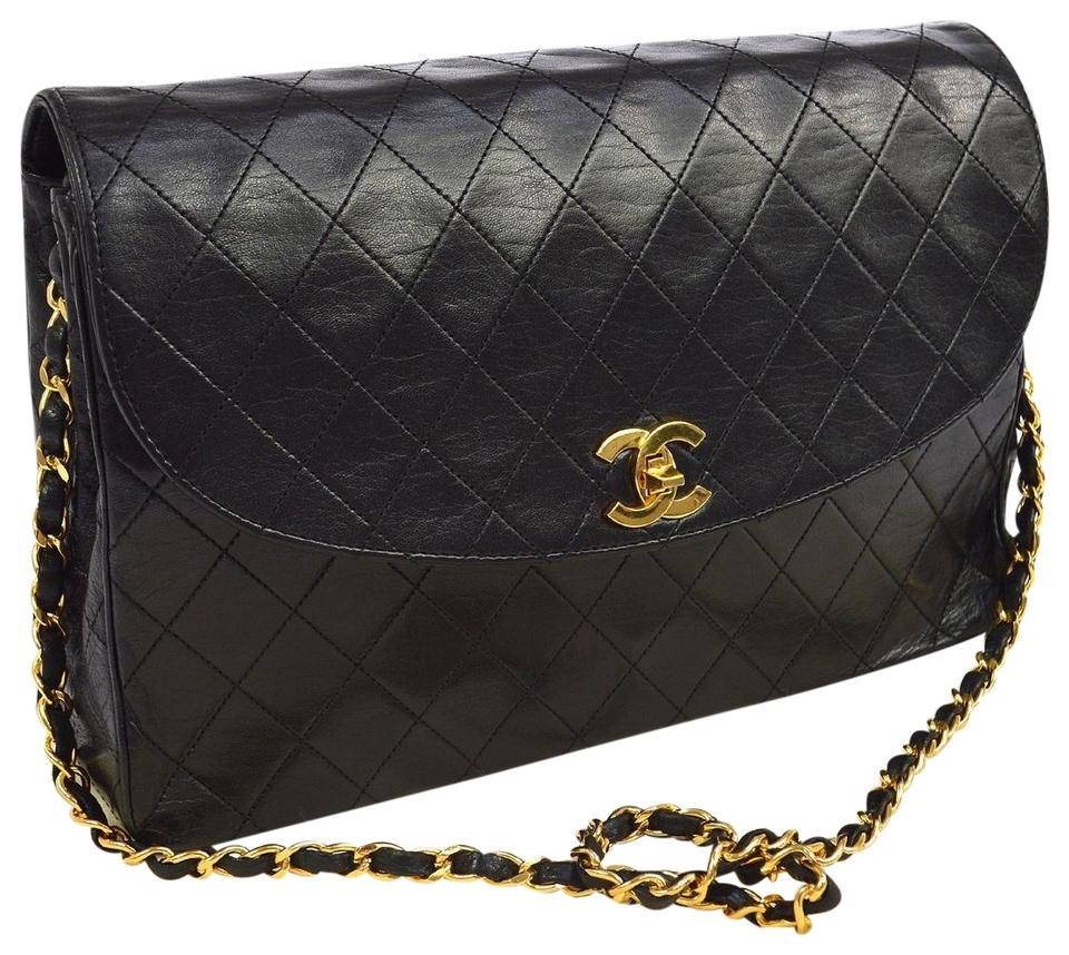 Chanel Classic Flap Quilted Half Moon Flap Black Lambskin Shoulder ... b2e818c7f4