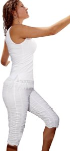 Lirome Summer Beach Resort Vacation Organic Capri/Cropped Pants White