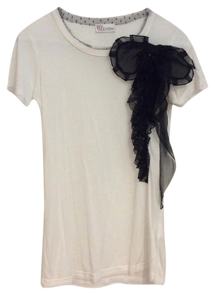 Red valentino white black bow tee shirt size 2 xs tradesy for Black white red t shirt