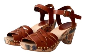 Isabel Marant Wood Leather Floral Brown Platforms